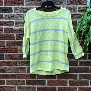 Sonoma Yellow Gray Striped Sweater